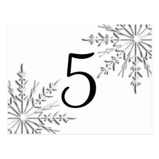 Número de la tabla de los copos de nieve del postales