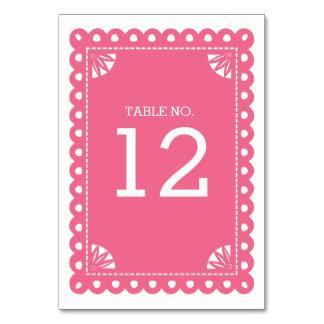 Número de la tabla de Papel Picado - rosa