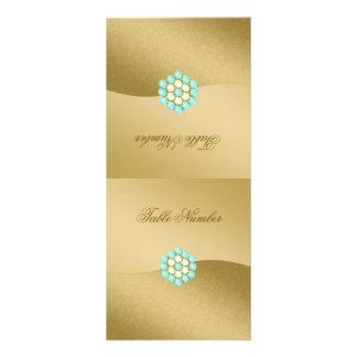 Número de la tabla de plegamiento en oro, perlas y tarjeta publicitaria