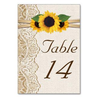 Número de la tabla del boda de la arpillera del