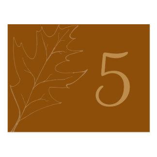Número de la tabla del boda de la hoja del roble postales
