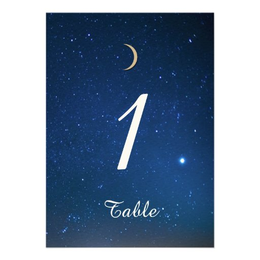 Número de la tabla del boda de la noche estrellada invitaciones personalizada