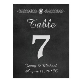 Número de la tabla del boda de la pizarra tarjetas postales