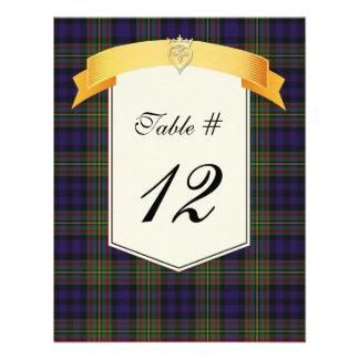 Número de la tabla del boda de la tela escocesa de comunicados personalizados