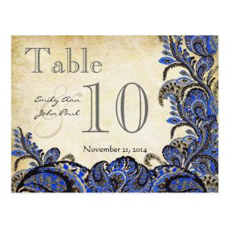 Número de la tabla del boda de Paisley del oro de