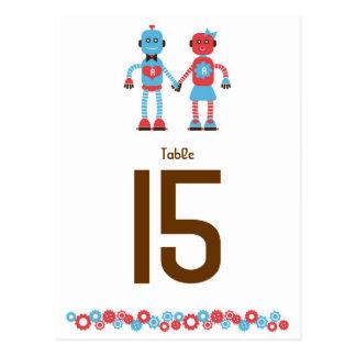 Número de la tabla del boda del amor del robot postal