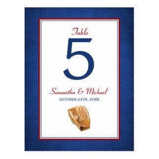 Número de la tabla del boda del béisbol postales