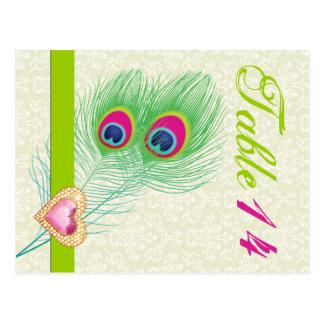 Número de la tabla del boda del corazón de la joya postal
