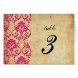 Número de la tabla del boda del damasco del remoli tarjeta