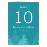 Número de la tabla del boda del invierno del árbol tarjeta