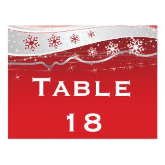 Número de la tabla del boda del invierno del gris postal