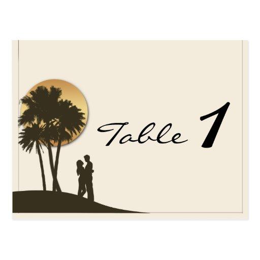 Número de la tabla del boda del paraíso de la isla tarjeta postal