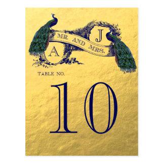 Número de la tabla del boda del pavo real del oro tarjetas postales