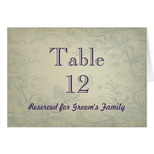 Número de la tabla del boda del vintage de la verd felicitación