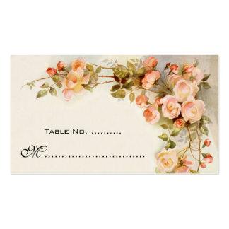 Número de la tabla del boda del vintage, flores co tarjetas de visita