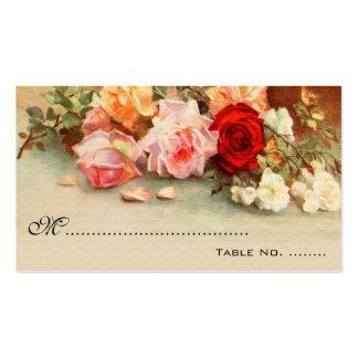 Número de la tabla del boda del vintage, flores tarjetas de visita