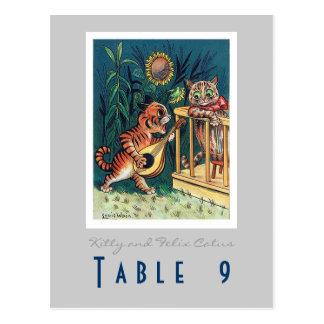 Número de la tabla del boda tarjeta postal