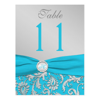 Número de la tabla del damasco de la turquesa y de tarjetas postales