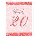 Número de la tabla del fondo del damasco (coral/bl tarjeta postal