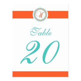 Número de la tabla del monograma del círculo del postales