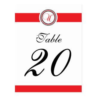 Número de la tabla del monograma del círculo del tarjeta postal