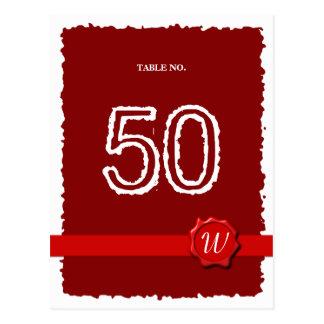 Número de la tabla del sello de la cera postal