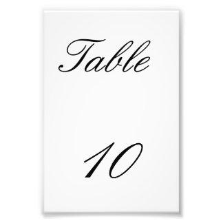 Número de la tabla impresión fotográfica