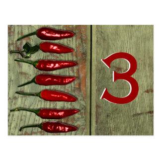Número de madera de la tabla de la mirada de Red H Postales