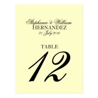 Número de marfil de la tabla del boda postal