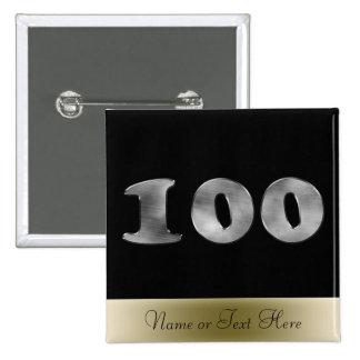 Número de plata personalizado 100 del 100o cumplea pin cuadrado