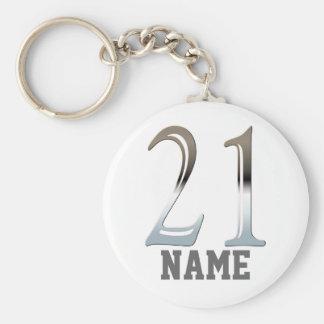 Número de plata personalizado 21 del 21ro cumpleañ llavero redondo tipo pin