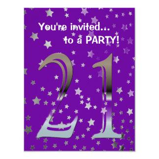 """Número de plata personalizado 21 del 21ro invitación 4.25"""" x 5.5"""""""