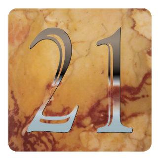 """Número de plata personalizado 21 del 21ro invitación 5.25"""" x 5.25"""""""