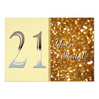 """Número de plata personalizado 21 del 21ro invitación 5"""" x 7"""""""