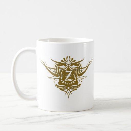 Número de tatuaje gótico del oro de Z Tazas De Café