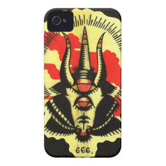 Número de teléfono negro de la cabra de la bestia iPhone 4 Case-Mate cárcasa