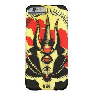 Número de teléfono negro de la cabra de la bestia funda de iPhone 6 barely there