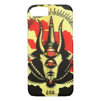 Número de teléfono negro de la cabra de la bestia funda iPhone 7