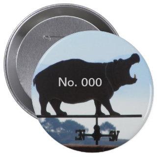 Número del Hippopotamus Pin Redondo De 4 Pulgadas