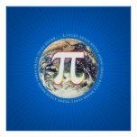 Número del pi en el poster del azul de la matemáti