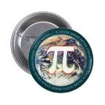 Número del pi en la tierra - botón de la matemátic pin