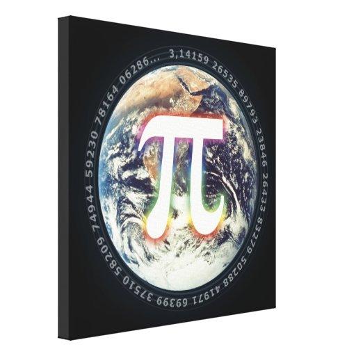 Número del pi en la tierra - lona de la matemática impresiones en lienzo estiradas
