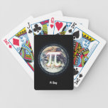 Número del pi en naipes de la tierra barajas de cartas