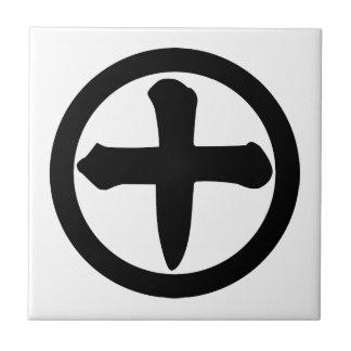Número diez del kanji en círculo azulejo cuadrado pequeño