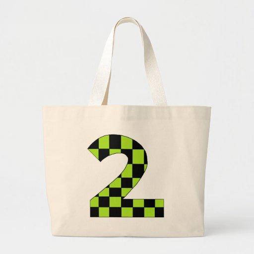 Número dos a cuadros verde bolsas de mano