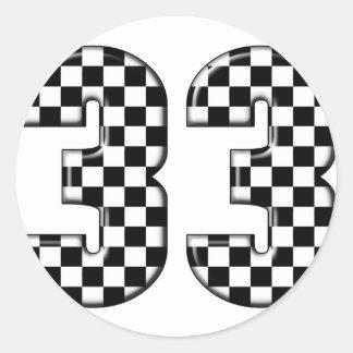 número el competir con auto 33 etiquetas redondas