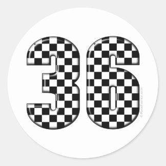 número el competir con auto 36 pegatina redonda