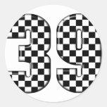 número el competir con auto 39 etiquetas redondas
