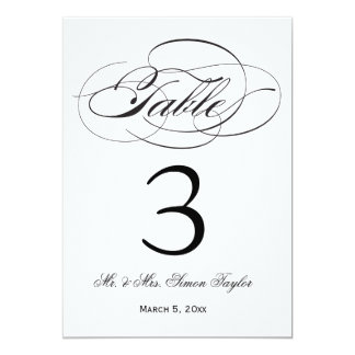 """Número elegante de la tabla de la escritura - invitación 5"""" x 7"""""""