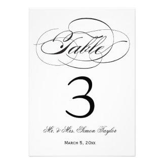 Número elegante de la tabla de la escritura - negr
